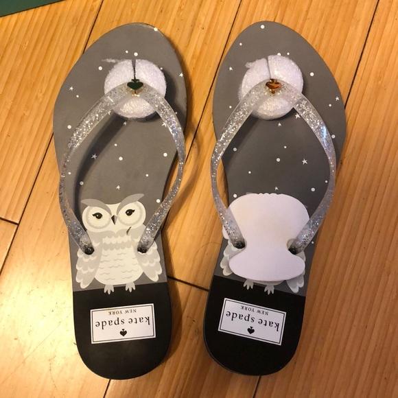 1fec86fdc05 Kate Spade Owl Silver Flip Flops